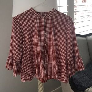 Madewell red gingham blouse